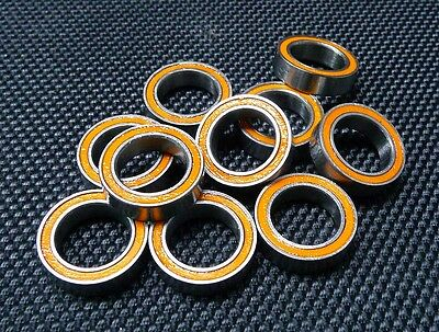 [10PCS] 6700RS (10x15x4mm) Double Metal Rubber Sealed Ball Bearing (Orange)