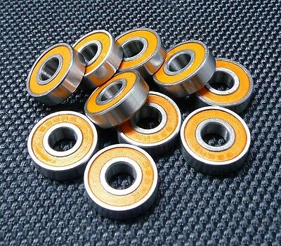 [10PCS] 695RS (5x13x4mm) Double Metal Rubber Sealed Ball Bearing (Orange)