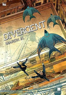 "DIVERGENT 13.5""x19"" Original Promo Movie Poster MINT MIDNIGHT IMAX Version 2014"