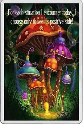 FRIDGE MAGNET psychedelic colourful mushrooms & positive words unusual gift