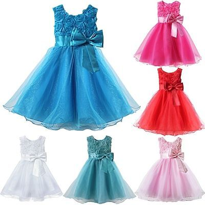 Baby Girl Wedding Party Christening Dress 3D Flowergirl Dress up 6 Months-9 Year