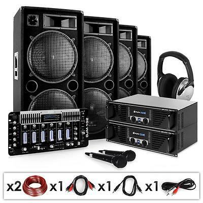 Complete Pro Pa System 4000W Speakers Amplifier Dj Mixer *free P&p Special Offer