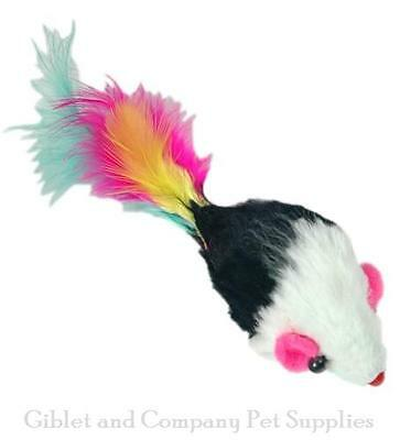 TWO-TONE BEADED FUR MICE CAT TOYS - Lots 3/5/10 Real Fur Feathers Rattles Mice