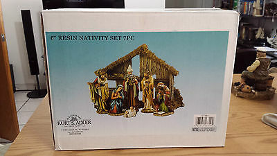 Nativity Set Kurt Adler 6-Inch 7-Piece Resin with Stable and 6 Figures New