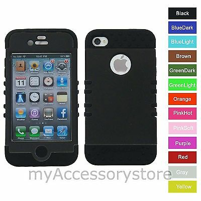 For iPhone 4s 4 Black RKR Hard&Rubber Hybrid Rugged Protector Phone Case Cover