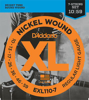 D'Addario EXL110-7 Electric Guitar Strings Light 10-59  - New