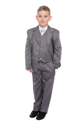 Boys Grey Wedding Suit Formal Wear Includes Shirt & Tie Age 1-15 Years New