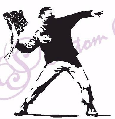 FLOWER THROWER Vinyl Sticker Car, Window, Wall 11 Colours Banksy Street Art Riot