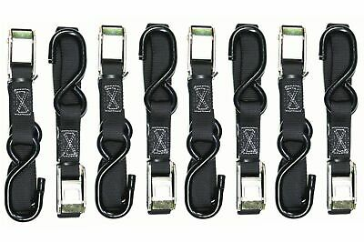 4 Pairs Heavy Duty Oneal Motorcycle Tie Downs Tiedowns Straps Black