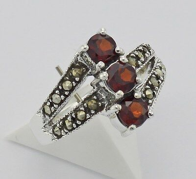 Free Shipping Sterling Silver Size 8 Vintage Style Garnet and Marcasite Ring