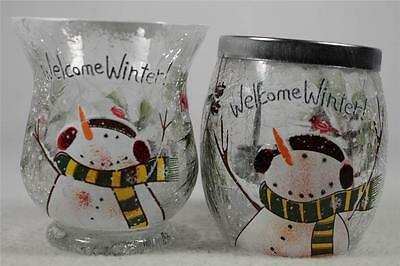 Yankee Candle Tealight & Votive Holder 'Crackle Snowman' Set Of 2  NEW!