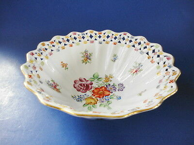 Antique Dresden Reticulated Scalloped Bowl, Germany