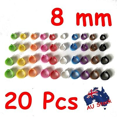 8mm 20pcs Birds Chicken Poultry Leg Rings Band Tags Clip on 10 colours
