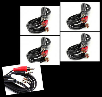 4X 10Ft 3.5Mm Aux Rca Phono Male Audio Stereo Jack Black Splitter Cable Adapter