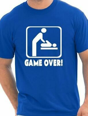 Game Over New Baby Dad Daddy Parent Mens Funny Birthday Gift Size S XXL