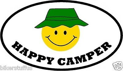 Happy Camper Bumper Sticker Window Sticker Laptop Sticker Toolbox Sticker