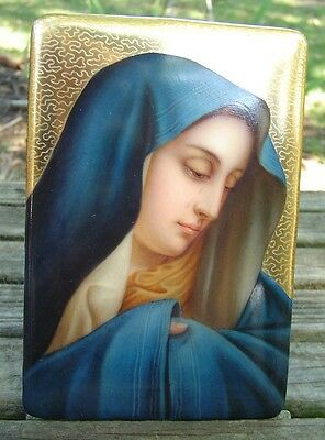 Exquisite Antique Signed/numbered Hand-Painted Weeping Mary Porcelain Plaque!!