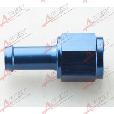 "Straight 6AN AN6 AN-6  Female To 3/8"" (10mm) Barb Hose Adapter Fitting Blue"