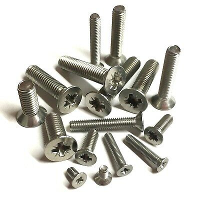 M3 M4 M5 M6 Pozidriv Countersunk Machine Screws - A2 Stainless Steel - Pozi CSK