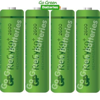 4 x GP Recyko AA 2600 mAh Rechargeable Batteries NiMH Stay Charged HR6 Prev 2700