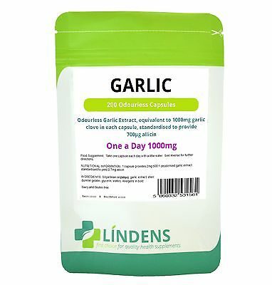 GARLIC OIL 1000mg (200 Odourless Capsules) 1 a day heart health - Lindes UK made