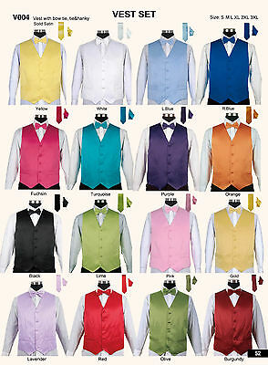 Men's 4 Piece Tuxedo Vest Set with Bow tie, Handkerchief and Tie 16 colors V004