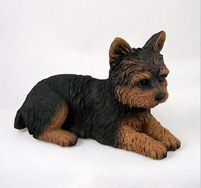 YORKSHIRE TERRIER YORKIE (Puppy Cut) DOG Figurine Statue Hand Painted Resin