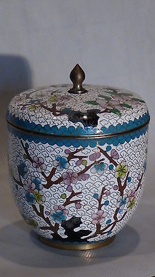 Antique Early 20C Chinese Cup Shaped Pot W/lid White Ground With Cherry Blossoms