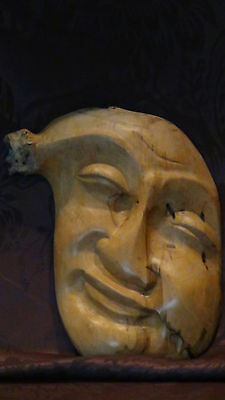 Antique 19C Japanese Mingel Wood Root Unique Carved Hyottoko Mask,signed.