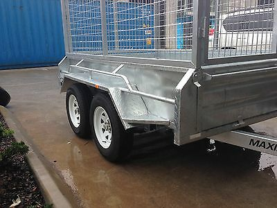 8x5 HIGH SIDES 400MM GALVANISED BOX MAXIM TRAILER TANDEM LADDER RACKS available