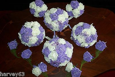 Wedding Bouquet Flower Complete Package In Lilac & White Roses Bespoke Hand Made