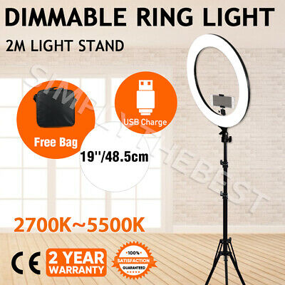 "19"" Dimmable LED Ring Light 5500K Diffuser Stand Make Up for Phone Camera Video"