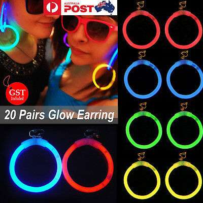 20 Pairs Glow Earring Lights Up Glow sticks Disco Dance Party Glow In The Dark