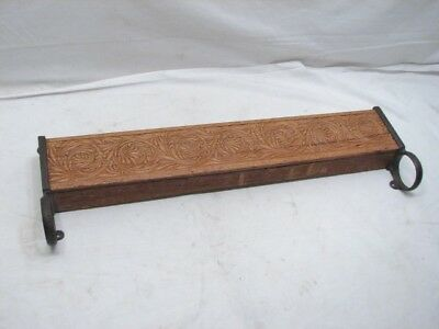 Antique Wooden Towel Rack Wall Pocket Kitchen Shelf Cast Iron Grape Leaves