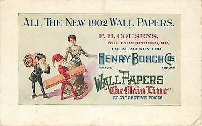 ADVERTISING Card for the New 1902 Wall Papers Delivered by ELVES!