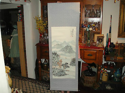 Vintage Japanese Or Chinese Scroll-Painted Mountain Scene-Signed & Marked-Large