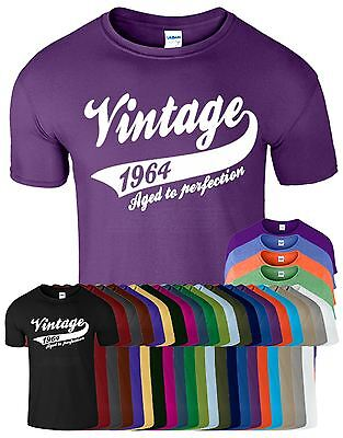 Vintage 1964 Age To perfection novelty Mens Birthday Funny Present Top T Shirt