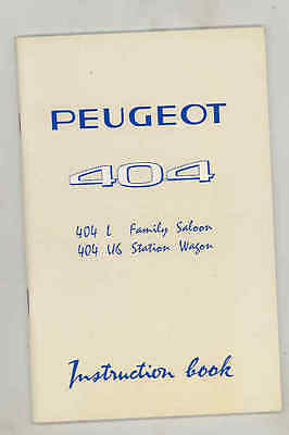 1969 Peugeot 404 L Family Saloon U6 Station Wagon ORIGINAL Owner's Manual fo1618