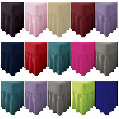 Luxury Plain Dyed Frilled Poly Cotton Fitted Valance Sheets, Fitted All Sizes