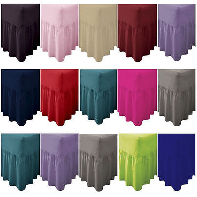 Plain Dyed Fitted Valance Sheet Poly Cotton Bed Sheet Single Double & King Sizes