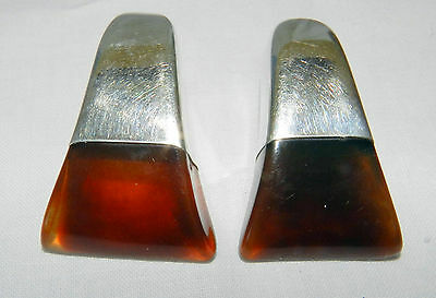 Beautiful Modernist Sterling Silver Amber Color Celluloid Earrings Etched 925