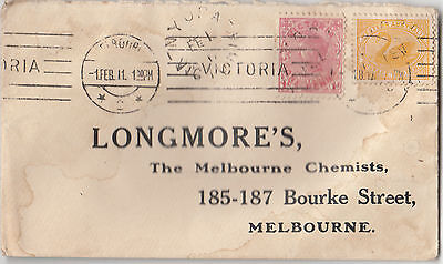 Stamps 1d red 2d Western Australia LONGMORES Chemist Melbourne pre-printed cover
