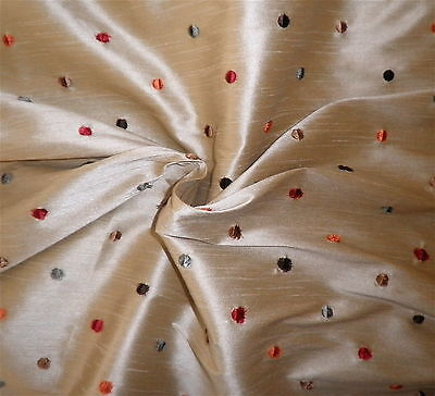KRAVET Tussah Silk Raised Embroidery Polka Dots India Multi Color New Remnant