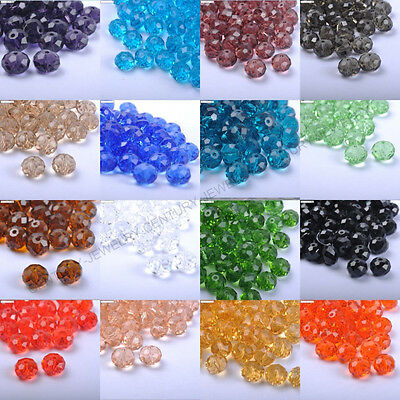 Top Quality Czech Crystal FACETED RONDELLE & Spacer BEADS - Choose 6MM 8MM 10MM