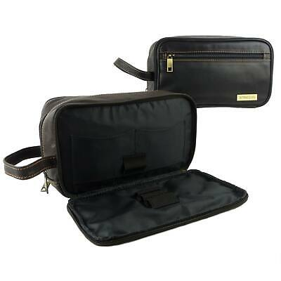0defcd4193 NEW Mens QUALITY Leather Wash Bag by Rowallan Travel Black Brown Handy  Stylish