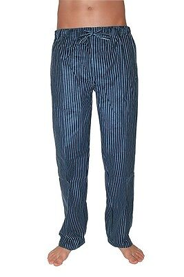 Mens Winter Flannel Sleepwear PYJAMAS Pjs Long Pants Navy Stripe sz S M L XL XXL