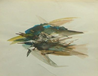 Jean BRÉANT (1922-1984) Aquarelle Abstraction lyrique Watercolor Abstract lyric