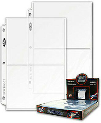 100 - 2 Pocket 5x7 Photo Postcard Page Protector by BCW Pro2T for 3 ring binders