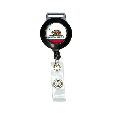 California Republic Flag - Lanyard Retractable Reel Badge ID Card Holder