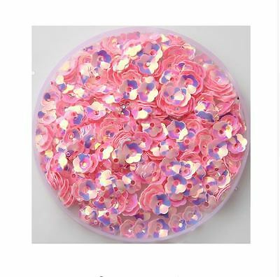 500pcs Pink AB Shiny 8mm Flowers Loose Sequins Paillettes Sewing Crafts & DIY